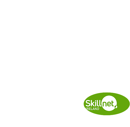A circle composed by white dots with the logo of Skillnet Ireland