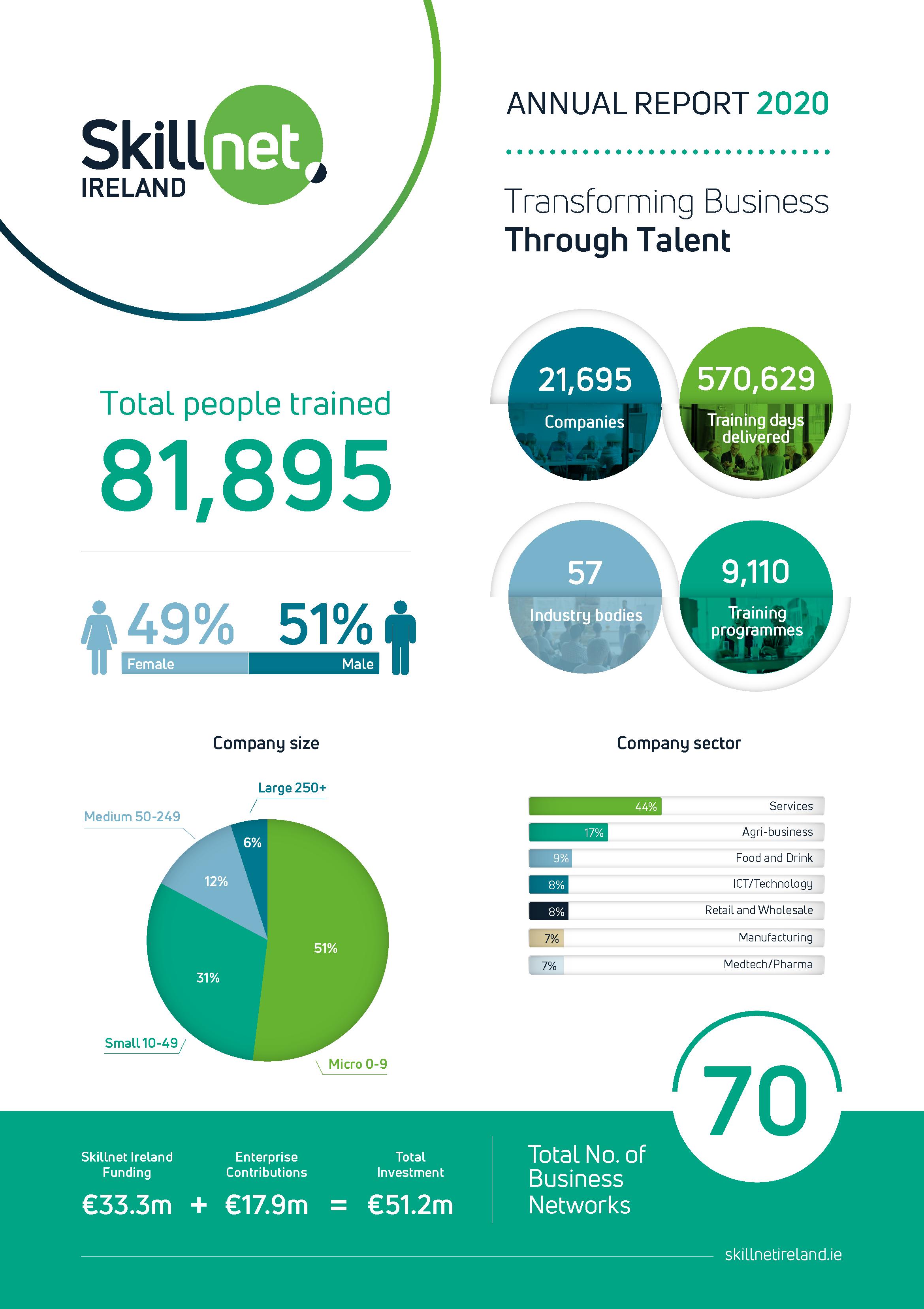 Skillnet Ireland Annual Report 2020 Infographic image